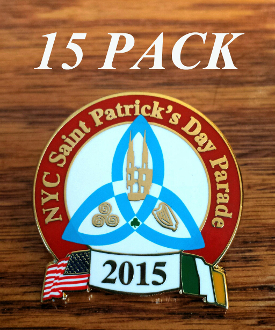 2015 NYC St. Patrick's Day Parade Pin: 15 PACK